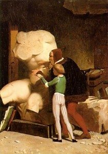 Jean-Leon-Gerome-Michelangelo-in-his-Studio-Oil-Painting