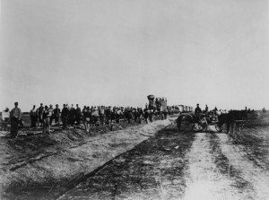 Laying track west of Hays, Kansas, Alexander Gardner, 1867