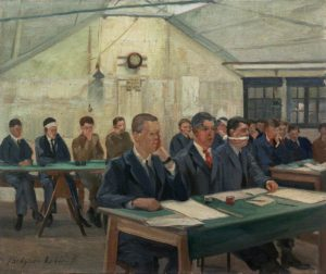 Lobley, John Hodgson; The Queen's Hospital for Facial Injuries, Frognal, Sidcup: The Commercial Class; IWM (Imperial War Museums); http://www.artuk.org/artworks/the-queens-hospital-for-facial-injuries-frognal-sidcup-the-commercial-class-6692
